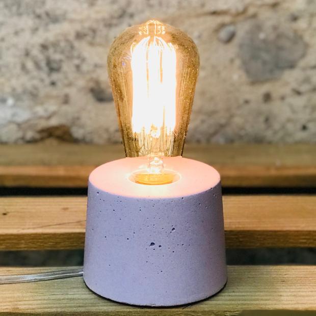 lampe béton rose pastel design fait-main création made in france