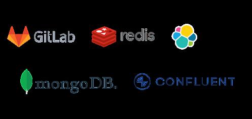 Logo lockup with MongoDB, Elastic, GitLab