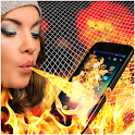 Fire on my phone prank icon