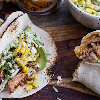 Slow-Cooker Enchilada Pork Tacos with Sweet-Corn Slaw.
