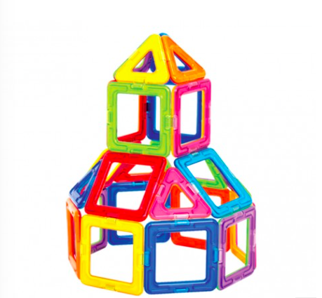 A favorite of early childhood development, this set of vividly colored magnetic pieces can be used to design and build 1000s of creations!
