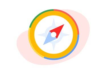 An illustrated compass with the Google colors.