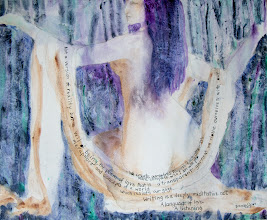 """Photo: Untitled2, 2nd wash with lettering, daylight photo, Brenda Clews, 2013, 24"""" x 30"""", ink and oils on stretched canvas."""