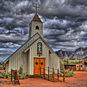 Storm Over the Chapel by Stephen Botel - Buildings & Architecture Places of Worship ( clouds, superstition mountain museum, desert, hdr, church, apache junction, wilderness, mountains, barn, superstition mountains, arizona, trees, lost dutchman state park, windmill, cactus )