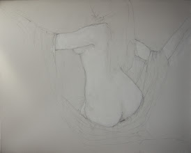 """Photo: Untitled2, unfinished sketch, 24"""" x 30"""", graphite on stretched canvas"""