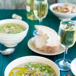 Broccoli White Bean Soup with Broccoli Pistachio Pesto and Asiago Croutons