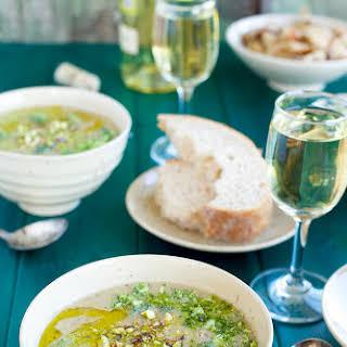Broccoli White Bean Soup with Broccoli Pistachio Pesto and Asiago Croutons.
