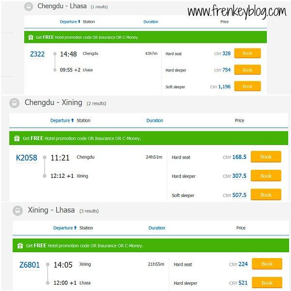 Perbandingan Harga Tiket Kereta Soft Sleeper dan Hard Sleeper rute Chengdu ke Lhasa