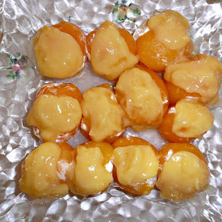 Medlars with Mascarpone Cheese and Lemon Curd Stuffing.