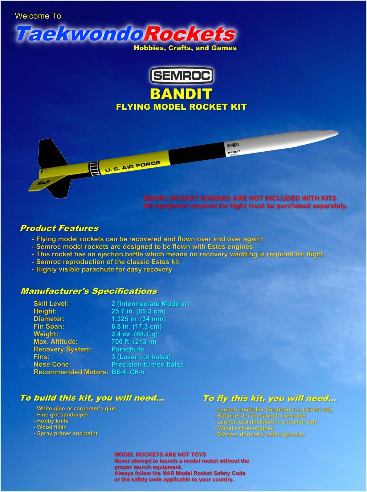 Models & Kits Semroc Flying Model Rocket Kit Bandit SEM-KV