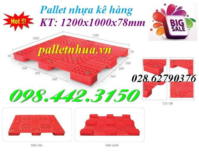 Pallet nhựa kê hàng cao 78mm