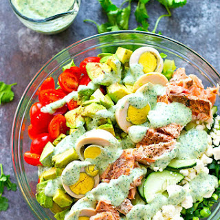 Grilled Salmon Cobb Salad with Cilantro Lime Ranch Dressing.