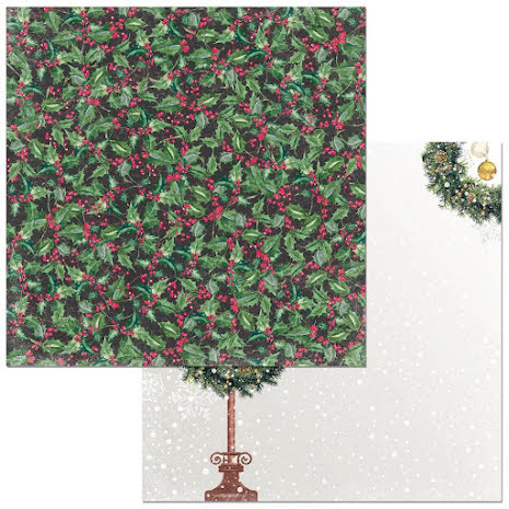 BoBunny Christmas In The Village Cardstock 12X12 - Holly UTGÅENDE