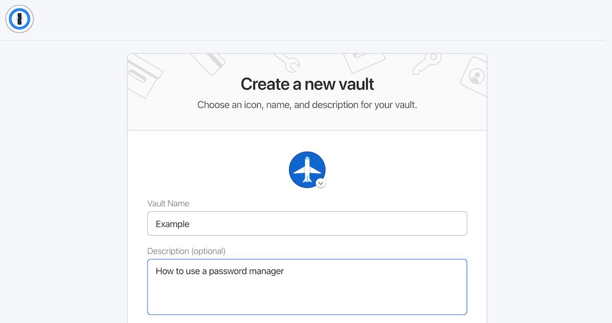 naming a new password vault.