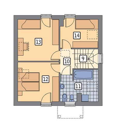 Dom na rozstaju - wariant II - C214b - Rzut poddasza