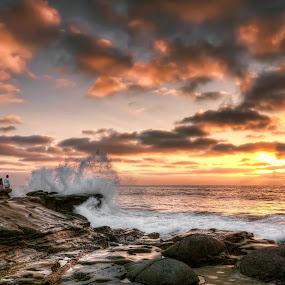 La Jolla Cove by Eddie Yerkish - Landscapes Sunsets & Sunrises ( clouds, waves, california, waterm orange, ocean, seascape, yellow, beach, landscape, sun, san diego, sky, sunset, la jolla, rocks, crash,  )