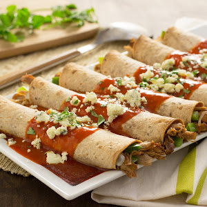 Spicy Buffalo Pork Enchiladas