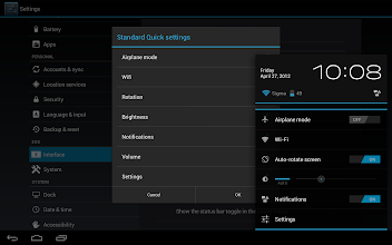 Photo: Here we can disable and enable all of the stock setting items in the popup settings area.