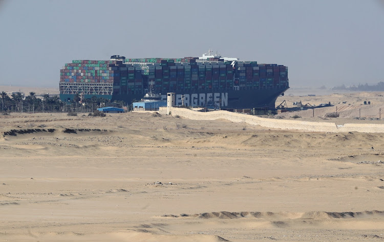 A view shows the stranded container ship Ever Given, one of the world's largest container ships, after it ran aground, in the Suez Canal, Egypt, on March 28 2021.