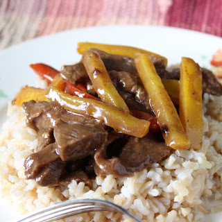 Pepper Steak and Rice.