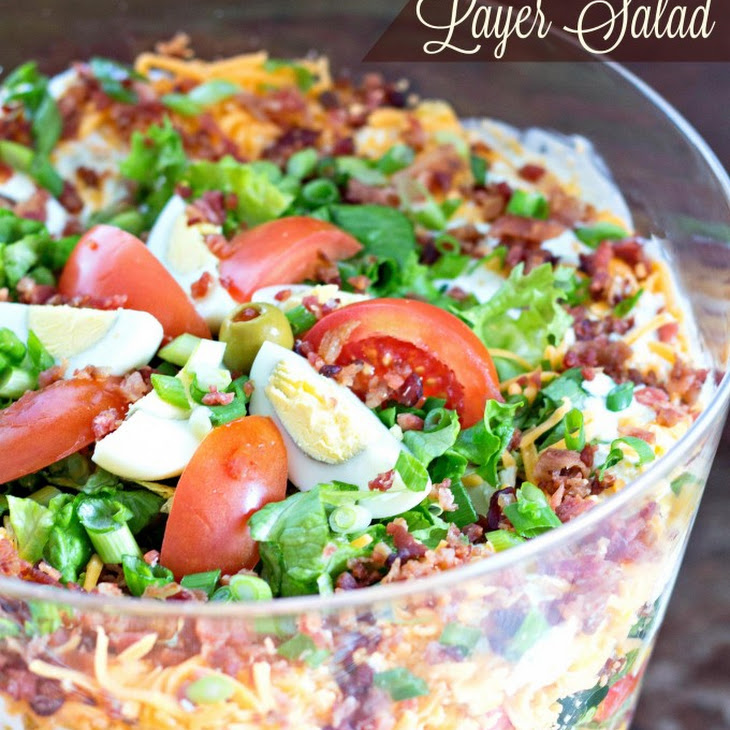 Chicken Bacon Ranch Layer Salad Recipe | Yummly