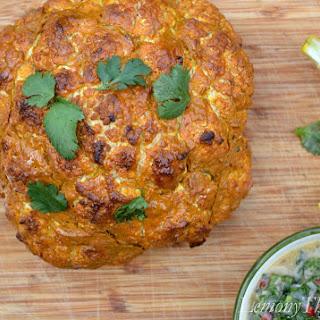 Whole Roasted Tandoori Cauliflower {with Mint Chutney}