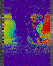 Photo: NOAA 19 northbound 34W at 30 Sep 2012 20:20:02 GMT on 137.10MHz, therm enhancement, Normal projection, Channel A: 2 (near infrared), Channel B: 4 (thermal infrared)