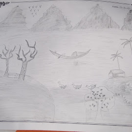 A village scene by Shubhashish Basak - Drawing All Drawing