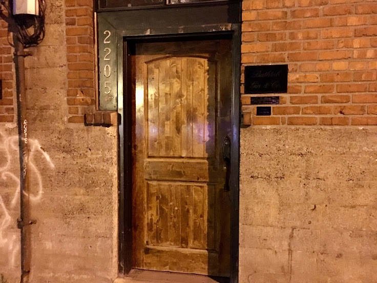 The front door to Bathtub Gin & Co.