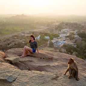 copycat  by Mike Mulligan - People Street & Candids ( mountain, girl, india, posing, monkey,  )