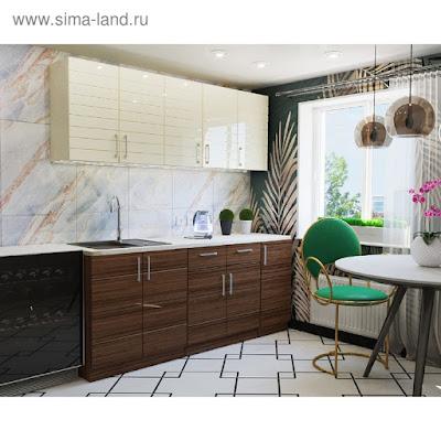 Кухонный гарнитур «Модерн», 2000 × 600мм, цвет жемчуг глянец / сосна глянец / корпус белый
