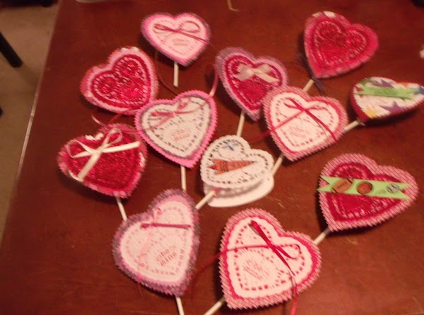 Glue hearts together. Add any bows, embellishments, sentiments at this time.