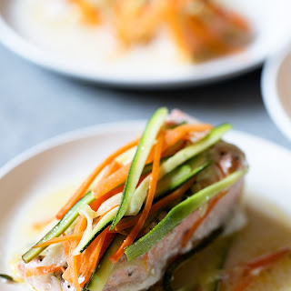 Salmon and Veggies in Foil Packs.
