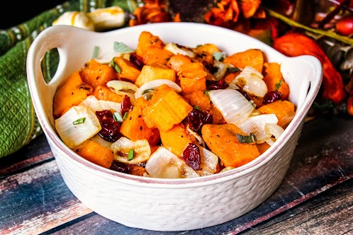 Roasted Butternut Squash With Sage & Dried Cherries