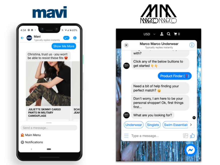 Facebook Messenger sample conversations with Mavi Jeans and Marco Marco Underwear