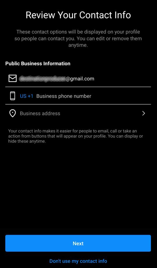 Instagram business contact info