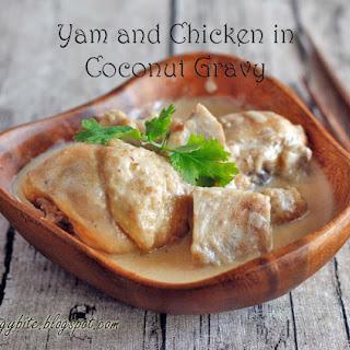 Yam (Taro) and Chicken in Coconut Gravy.