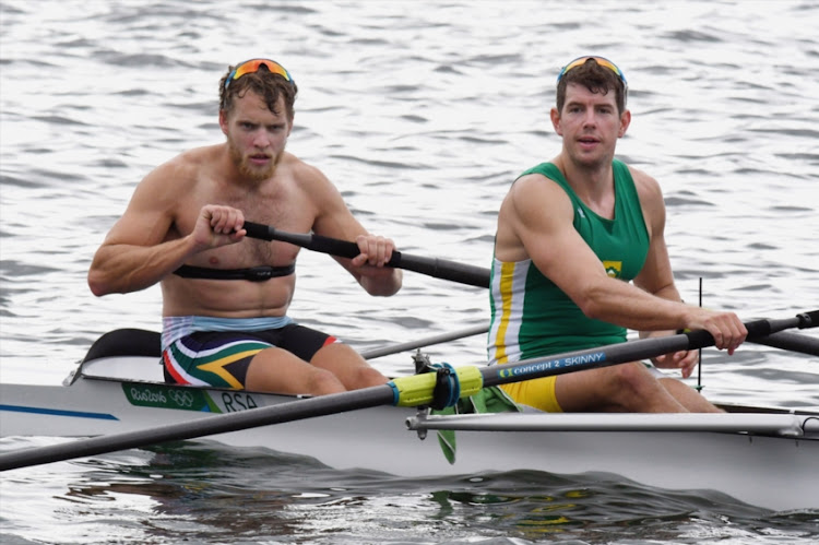 Lawrence Brittain and Shaun Keeling during the Team SA Rowers training session at Lagoa Rodrigo de Freitas rowing venue on July 31, 2016 in Rio De Janeiro, Brazil.