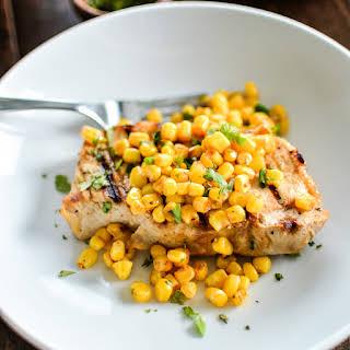 Grilled Buttermilk Boneless Pork Chops with Spicy Corn Relish.