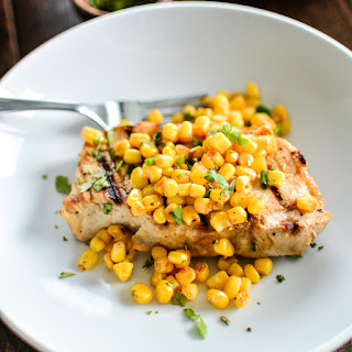 Grilled Buttermilk Boneless Pork Chops with Spicy Corn Relish.