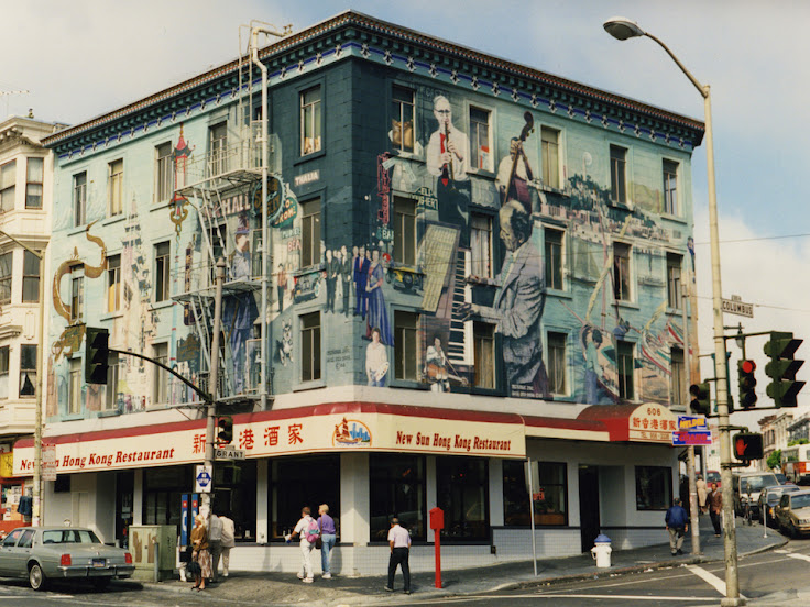 The jazz mural in 1987-1988, when it was first painted. (Photo: Bill Weber)