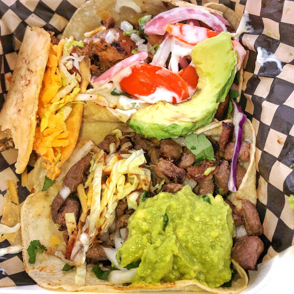 Nima Nomad Pic 3: GF tacos Old E (top left), Carne Asada (Bottom), Grilled chicken (top).
