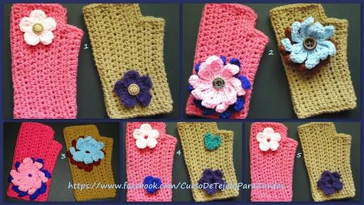 corazones flores para guantes tejidos al crochet ganchillo para zurdos