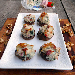 Bacon Walnut Blue Cheese Stuffed Mushrooms