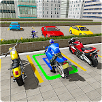New Racing Moto Bike Parking Icon