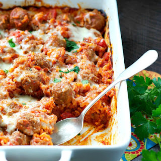 Dump and Bake Italian Meatball and Rice Casserole Recipe