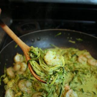 20 Minute Creamy Shrimp Pesto Zoodles.