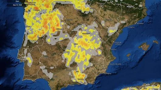 Mapa de Meteored de las zonas con más probabilidades de recibir rayos