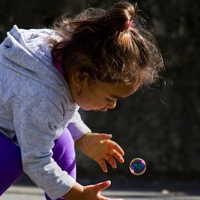 Determination by Trevor Bond - Babies & Children Children Candids ( child, bubble, candid,  )