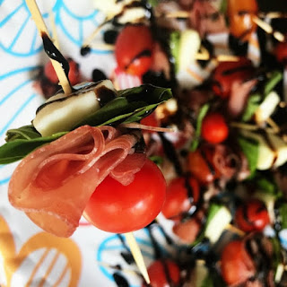 Prosciutto Caprese Kebabs Appetizer.